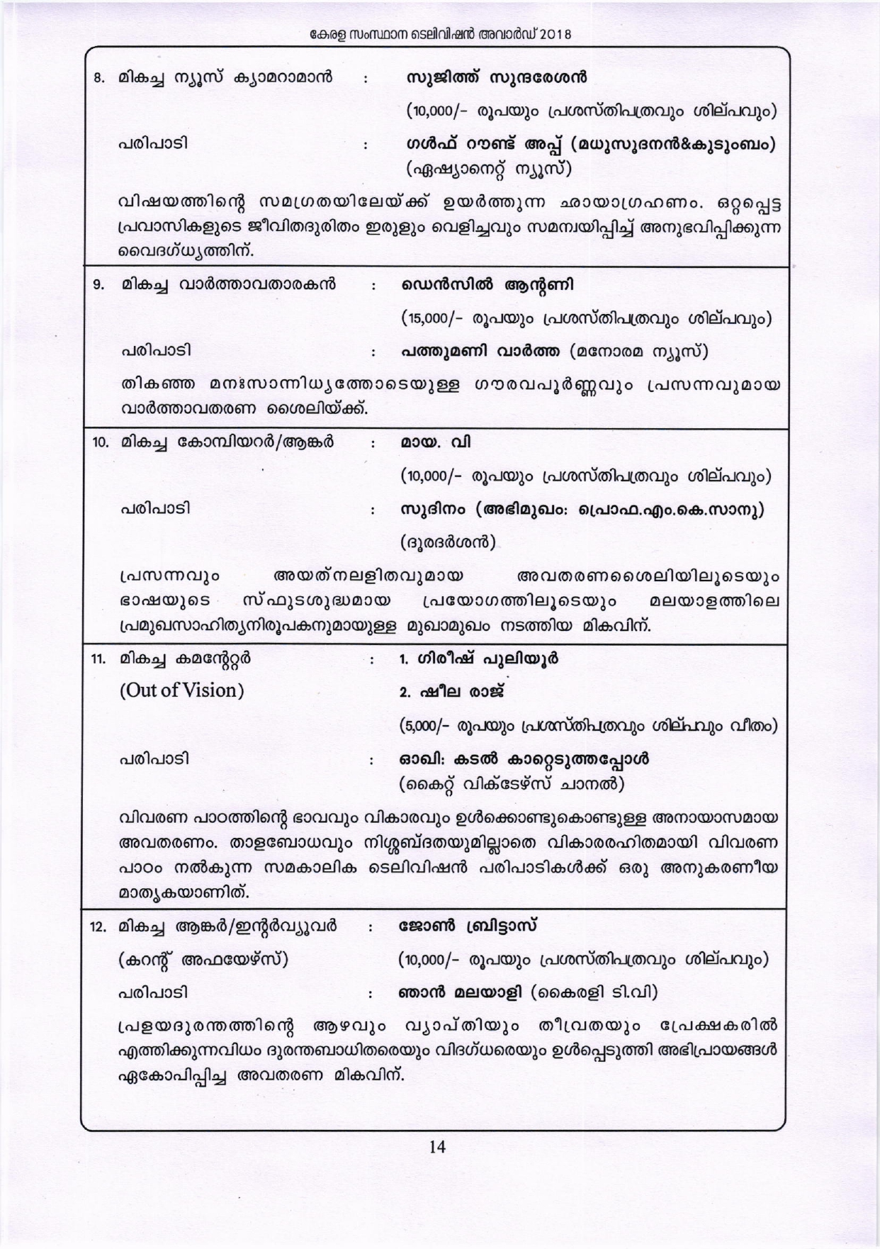 Kerala State Television Award 2018 Press Release 28.05.2019 page-0014